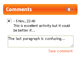 Moodle Comments Block